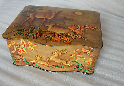 Art Deco Deer and Fawn Embossed shaped tin 15x12x6cm