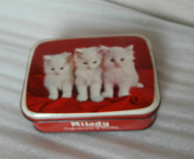 Vintage milady toffee tin cute kittens on lid 1950-60's