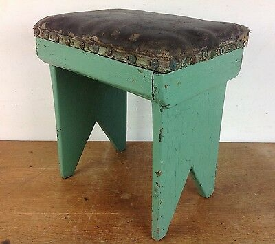 Antique Wooden Painted Stool Old Rustic Shabby Chic Brass Studs Vintage Seat