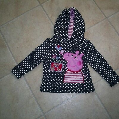 "Girls ""George"" Navy Blue/White Heart Print Peppa Pig Hoodie for Age 18-24 months"