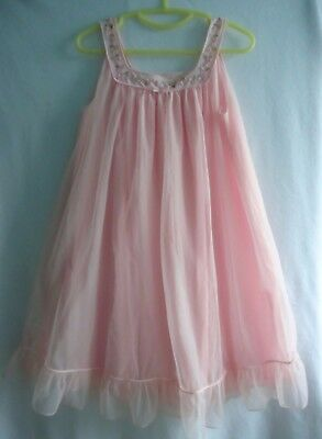 Vtg 70s St Michael Double Layer Nylon Babydoll Nightie 34-36""