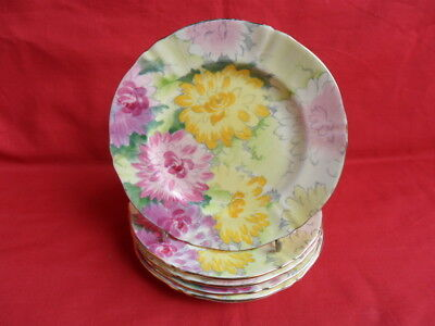 "Crown Staffordshire Dahlia, 5 x 6.25"" Teaplates or Side Plates"