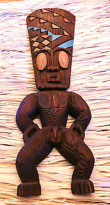 Vintage Mid Century Modern Witco Carved Wooden Tiki God Wall Hanging Sculpture