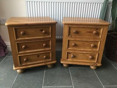 Solid Antique Style Pine Bedside Cabinets, From Lancashire Pine.