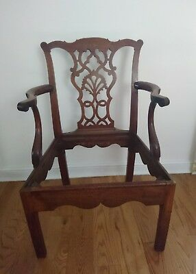 Antique Georgian Chippendale Style Splat Back Mahogany Chair Carver