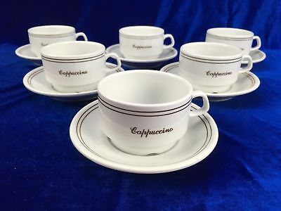 Set of 6 Espresso Coffee Cup And Saucer Duo White Short Black POLAND HARBRO