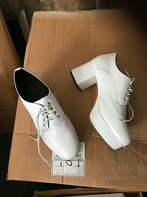 Mens platform shoes in white, size 10