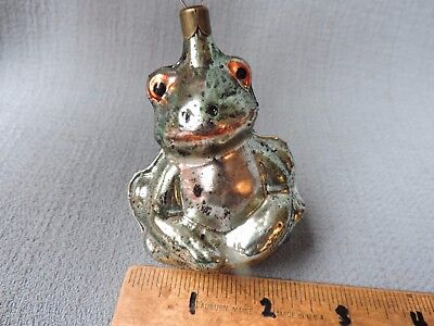 Antique German Glass Christmas Ornament FROG 1940's