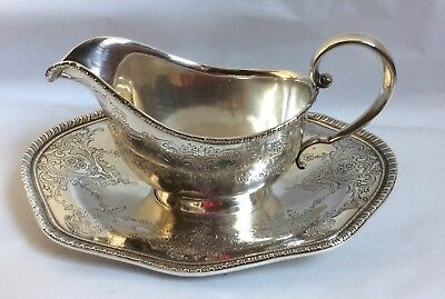 J. E. Caldwell / Whiting STERLING SILVER GRAVY BOAT with UNDERPLATE 354 grams