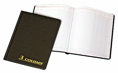 Adams 3 Columns Account Book 7 x 9.25 Inch Black 80 Pages Ledger Record Keeping