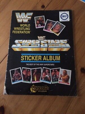 Vintage Rare WWF Wrestling Superstar Merlin Sticker Album 1990 Complete