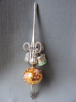 Antique German Glass Christmas Ornament WIRE WRAPPED BELLS TREE TOPPER ** 1940's