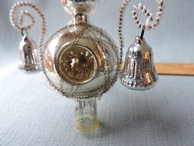 Antique German Glass Christmas Ornament WIRE WRAPPED BELLS TREE TOPPER *** 1940s