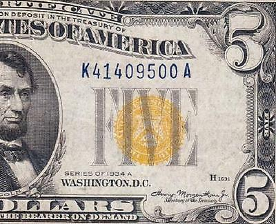 VERY NICE Crisp VF+ 1934 A $5 NORTH AFRICA Silver Cert.! FREE SHIP! K41409500A