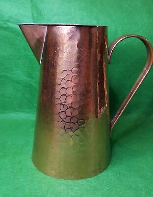 VINTAGE ARTS AND CRAFTS LIDDED COPPER COVERED JUG 16 cm TALL