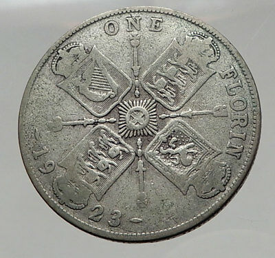 1923 United Kingdom Great Britain GEORGE V Silver Florin 2 Shillings Coin i63027