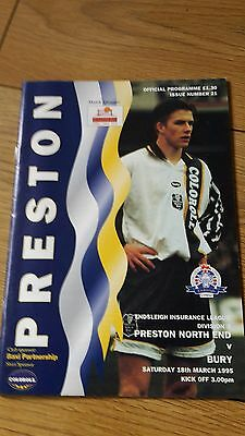 Preston V Bury 1994-95 Beckham On Cover