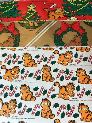 "Vintage Garfield Christmas gift Wrap Lot Of 3 Sheets Holiday 1978  30""x30"""