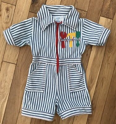 Vintage Boy 18M 24M Tool Romper 70s Zip Up Childrens Clothes Outfit Stripes