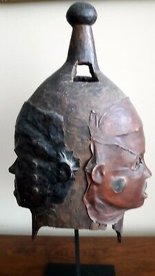 Ekoi Ejagham  Janus Headdress Mask Made of Wood and Leather Very Old