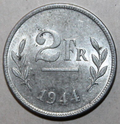 Belgian 2 Francs Coin, 1944 - KM# 133 - Belgium Allied Occupation Coinage WWII