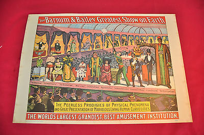 "Barnum & Bailey Greatest Show on Earth -  Vintage Poster  appx 14"" x 19"""