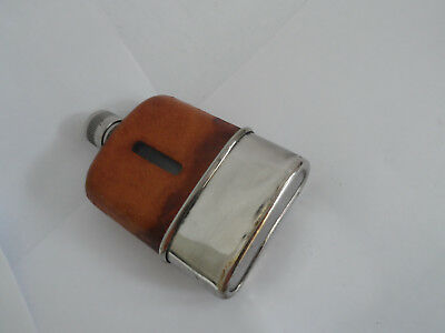 Vintage Silver Plate Leather And Glass Small Hip Flask  With Detachable Base Cup
