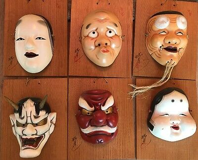 Japanese Noh Masks Signed Mounted Vintage 6PCS SET Ceramic Porcelain on Wood
