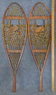 snowshoes leather bindings Michican style beaver Osgood Me antique