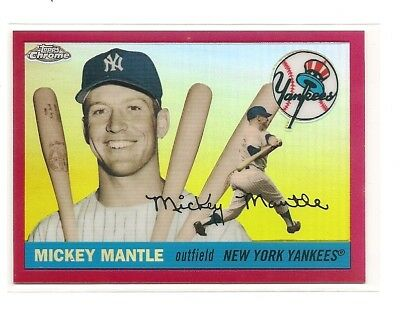 2008 Topps Chrome Mickey Mantle Story RED Refractor #7/25.  HIS JERSEY NUMBER!