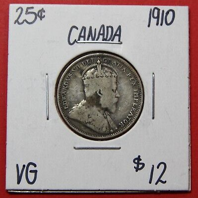 1910 Canada 25 Cent Twenty Five Cents Quarter Coin 8107 - $12 VG