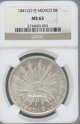 1841-Go PJ  Mexico. 8 Reales, KM-377.8   GRADED BY  NGC AS   MS63  --GREAT COIN