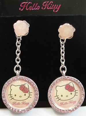 "Hello Kitty Ohrstecker ""Dangling Earrings Rose"" Strass pink Original Sanrio NEU!"
