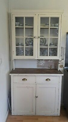 Late Victorian White Painted Kitchen Glazed Dresser Cabinet Cupboard Drawers