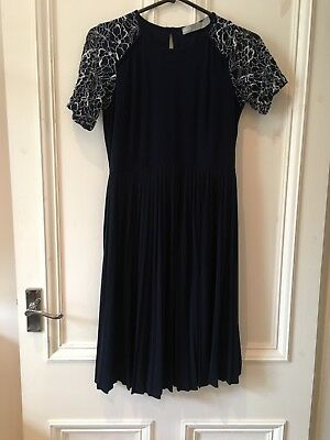 Asos Maternity Navy Pleat & Lace Dress Wedding Occasion 6 8