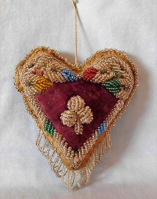 Antique IROQUOIS BEADED WHIMSEY ~ HEART, Sewing Pin Cushion VELVET Heavy Beading
