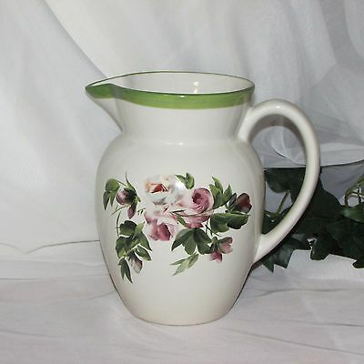 "Vintage Pottery Water Pitcher Large Jug Romantic Shabby Pink Roses 8 1/4"" Tall"