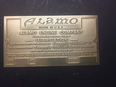 NEW Alamo Etched Brass Tag Antique Gas Engine Hit Miss