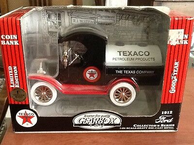 Texaco 1912 Ford Oil Tanker Die-Cast Coin Bank ~Gearbox ~1:24 ~Mint In Box