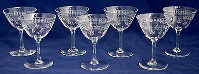 Set of 7 Vintage STUART Crystal Liqueur Glasses Unusual Etched Pattern 80ml/10cm