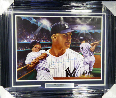 Mickey Mantle Autographed Signed Framed 20x24 NY Yankees Lithograph Photo JSA