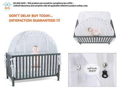Luxury Baby Crib Tent Safety Net Mesh Pop Up Canopy Cover Safe Bed Mattress NEW