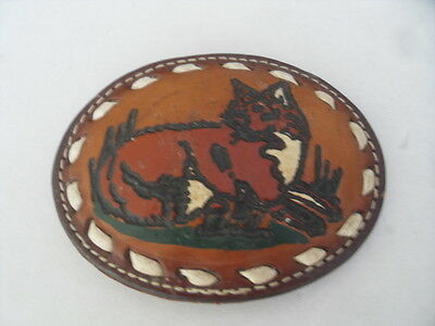 Texas Western Metal with Leather covering Belt Buckle depicting a fox / cat