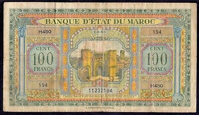 100 Francs From Maroc French Colony 1944