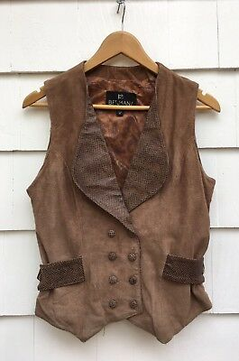Vintage Brown Textured Suede Leather Vest Fitted Waistcoat Cincher Womens Medium