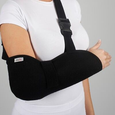 Deluxe Arm Sling Shoulder Immobilizer Bracing High Pouch Support Strap Black