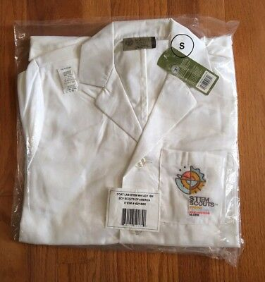 Boy Scouts Of America STEM White Lab Coat - ADULT SIZE SMALL - Embroidered Logo