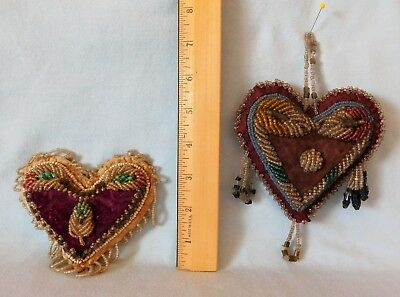 2 Antique IROQUOIS BEADED WHIMSEY HEART Sewing Pin Cushion VELVET Heavy Beading