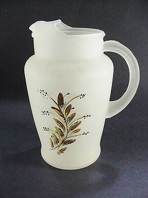 Vintage Satin / Frosted Hand Painted Glass Pitcher w Ice Lip  WONDERFUL