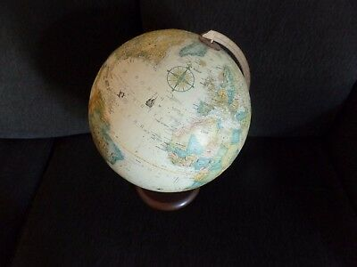 Replogle Vintage Globe with Wooden Base Made in USA